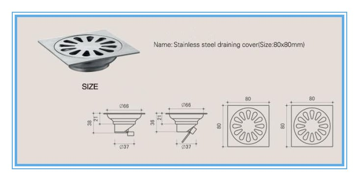 tainless-Steel-Casting-Floor-Drain-size